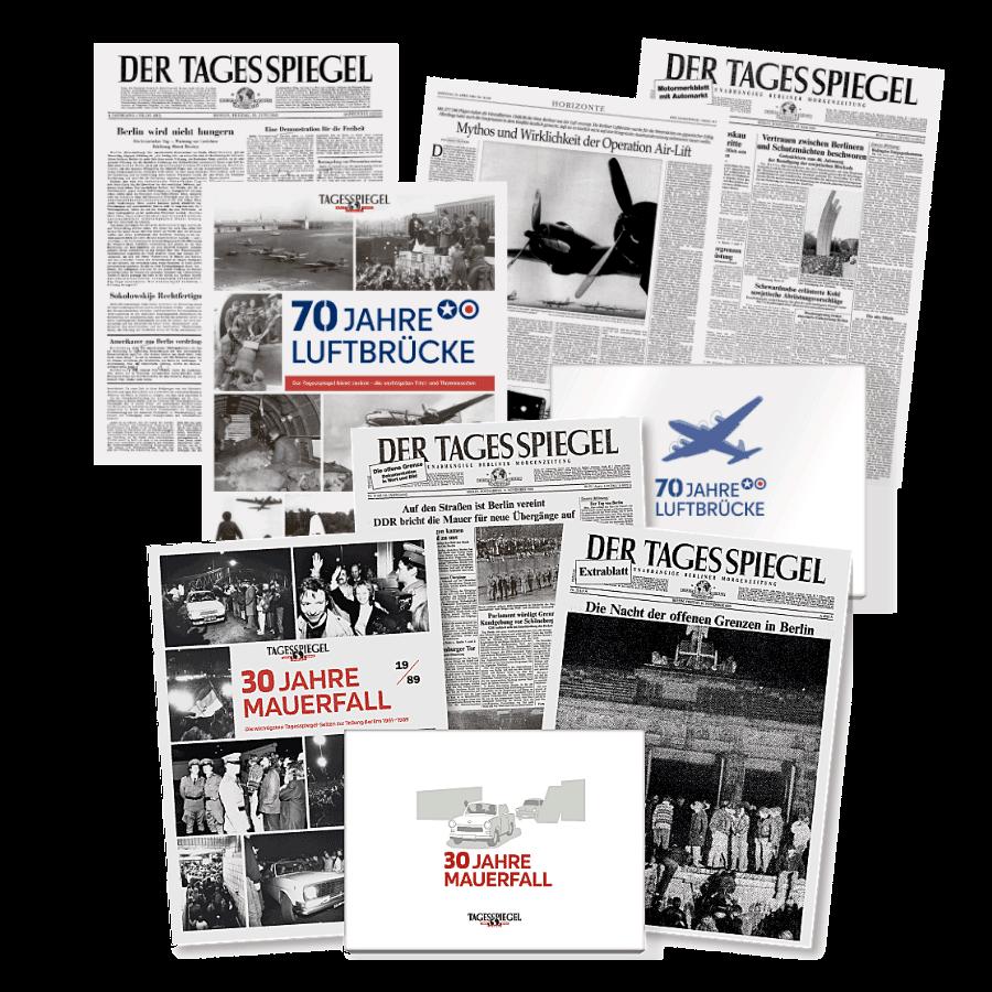 """Tagesspiegel Paket - Dokumentation """"30 Jahre Mauerfall"""" und """"70 Jahre Luftbrücke"""""""