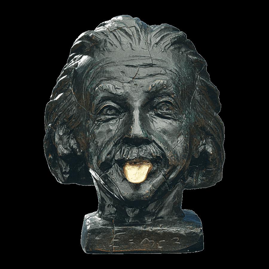 Einstein-Kopf mit goldener Zunge