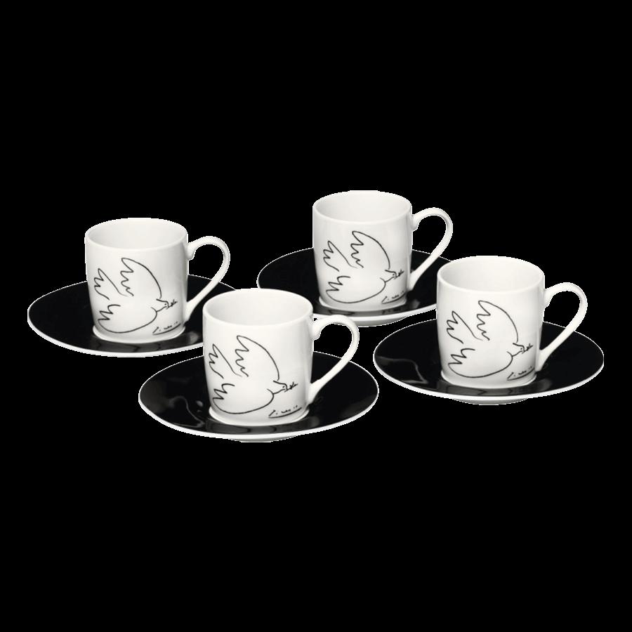 """""""La Combo de la Paix-Friedenstaube"""" 4-teiliges Espressotassenset nach Pablo Picasso"""